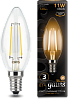 Акция | Лампа Gauss LED Filament Свеча E14 11W 720lm 2700К 1/10/50