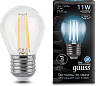 Лампа Gauss LED Filament Шар E27 11W 750lm 4100K 1/10/50