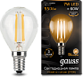 Лампа Gauss LED Filament Шар E14 7W 550lm 2700K 1/10/50