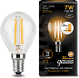 Лампа Gauss LED Filament Globe E14 7W 2700K step dimmable 1/10/50