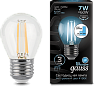 Лампа Gauss LED Filament Globe E27 7W 4100K step dimmable 1/10/50