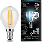 Лампа Gauss LED Filament Globe E14 7W 4100K step dimmable 1/10/50