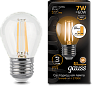 Лампа Gauss LED Filament Globe E27 7W 2700K step dimmable 1/10/50