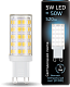 Лампа Gauss LED G9 AC185-265V 5W 4100K керамика 1/10/200